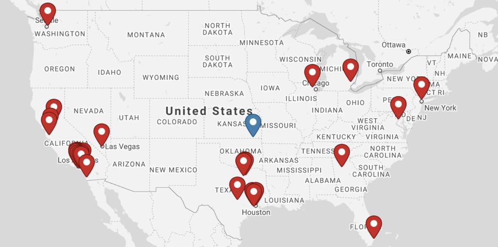 くら寿司USA店舗数、店舗一覧